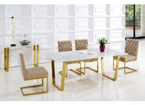 Cameron Gold/ Beige 5pc Dining set