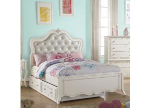 Edalene Pearl Twin Bed with Trundle