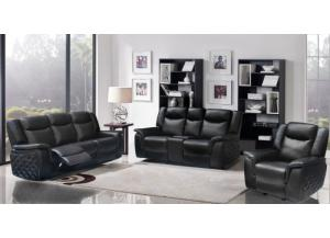 628 Black Reclining Sofa & Reclining Loveseat