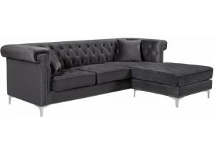 Damian Grey Velvet Reversible Sectional