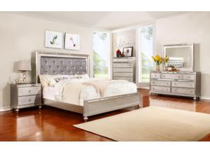 Jeily Platinum Queen Bed, Dresser, Mirror & 2 Nightstands