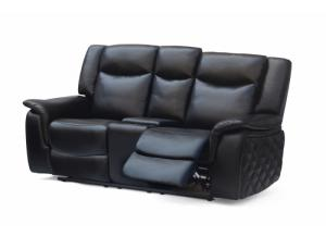 628 Black Reclining Loveseat with Console