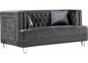 Lucas Grey Velvet Loveseat