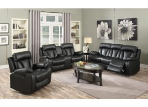 645 Black Reclining Sofa & Loveseat
