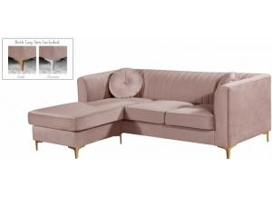 Eliana Pink Velvet Reversible 2pc. Sectional
