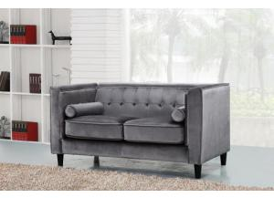 642 Grey Velvet Loveseat