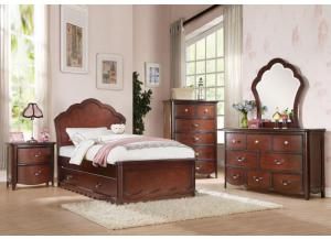 Cecilie Twin Panel Bed, Dresser, Mirror, & Night Stand