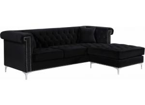 Damian Black Velvet Reversible Sectional