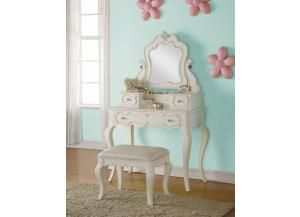 Edalene Pearl Vanity With Jewelry Mirror & Vanity Stool
