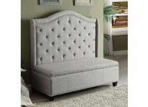 Fairley Beige Fabric Settee w/ Storage