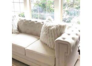 Snow Cream  Velvet Sofa