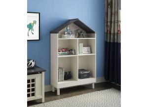 Doll Cottage White/ Gray Bookcase