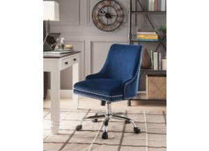 Yuval Blue Velvet Office Chair
