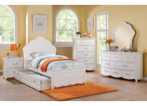 Cecilie White Twin Panel Bed, Dressor, Mirror & Nightstand