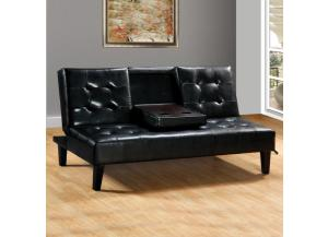 12386 YANTIAN-A BLACK SOFA BED W/DROP DRWN TRAY