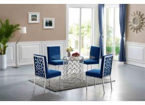 Opal Chrome Dining Table & 4 Blue Dining Chairs
