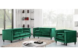 642 Green Velvet Sofa and Loveseat