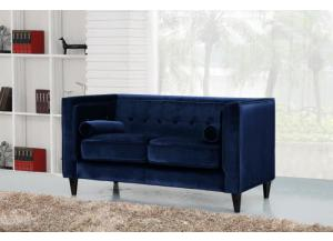 642 Navy Velvet Loveseat