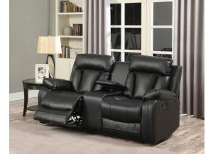 645 Black Reclining Loveseat