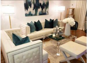 Davis Cream Velvet Sofa & Loveseat