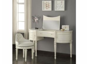 Dorothy Ivory Vanity with Mirror & Swivel Chair
