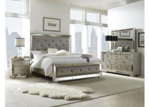 Platinum Queen Panel Bed, Dresser, Mirror & 2 Nightstands