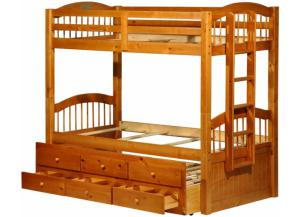 Triplet Bunkbed W/ trundle and Drawers