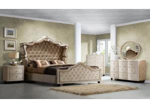 Diamond Velvet Queen Canopy Bed, Dresser, Mirror & 2 Nightstands