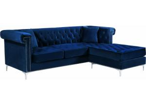 Damian Blue Velvet Reversible Sectional