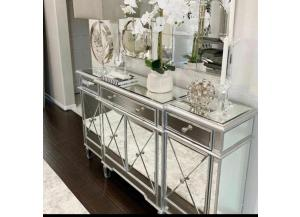 Pansy Glam 4 Door Mirrored Cabinet