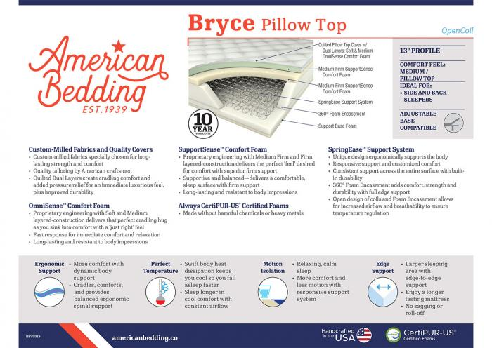 BRYCE PILLOW TOP FULL MATTRESS W/FOUNDATION,Corsicana