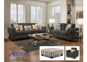 1700 Paradigm Smoke Sofa w/ Accent Pillows - Contemporary