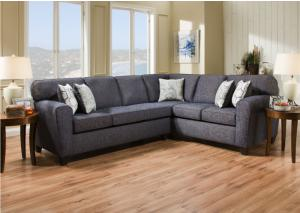 3100 Uptown Denim Sectional Set w/ Accent Pillows - Casual