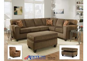 3100 Cornell Cocoa Sectional Set w/ Accent Pillows - Casual