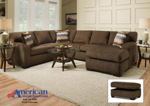 5250 Perth Chocolate Sectional Set w/ Accent Pillows - Seats 5