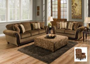 5650 Cornell Chestnut Sofa, Loveseat and Recliner Alpaca Cumin Set w/ Accent Pillows