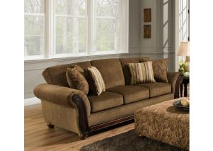 5650 Cornell Chestnut Sleeper Sofa with Wood Face on Arms w/ Accent Pillows
