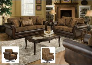 5850 Isle Tobacco Sofa, Loveseat and Recliner Isle Tobacco Set w/ Accent Pillows