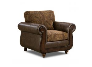 5850 Isle Tobacco Chair with Wood Face on Arms w/ Accent Pillows