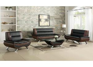 S7412 Two Town Black/Brown Modern Sofa and Loveseat Set w/ Coffee Table