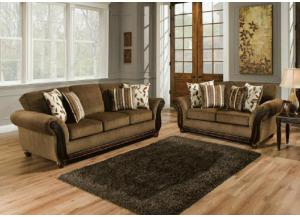 Model 8000 Traditional Charcol Fabric Sofa and Loveseat Set w/Accent Pillows
