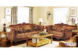 Model 998 Brown Traditional Fabric Sofa and Loveseat Set w/Accent Pillows