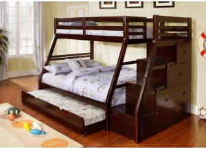 CMBK611 Twin/Full Bunk Bed w/Steps & Drawers and Twin Trundle