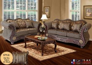 Del Rio Black Traditional Fabric Sofa and Loveseat Set w/Accent Pillows