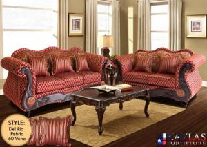 Del Rio Wine Traditional Fabric Sofa and Loveseat Set w/Accent Pillows
