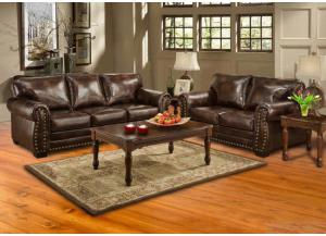 Hacienda Brown Contemporary Sofa and Loveseat Set