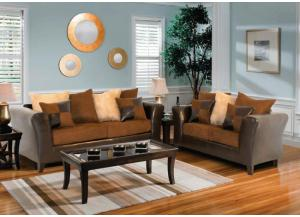 Model 100 Brown Fabric/Bicast Sofa and Loveseat Set