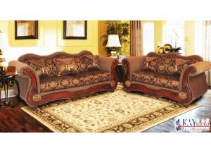 Del Rio Brown Traditional Fabric Loveseat w/Accent Pillows