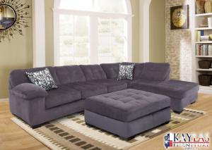 Revlon Barcelona Charcoal Contemporary Sectional