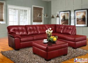 Revlon Crimson Red Contemporary Sectional